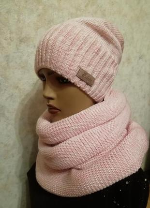 Стильный комплект шарф хомут  шапка пудра