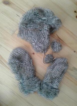 Набір мехова шапка і рукавиці