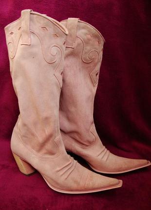 Сапоги кожа италия узкий острый носок размер 39 стелька 25см