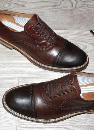 Дизайнерские кожаные стильные туфли - оксфорды bespoken, made in italy!