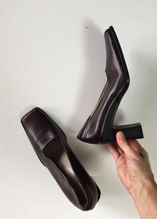 Кожаные туфли с квадратным носом каре бордовые бордо минимализм в стиле cos