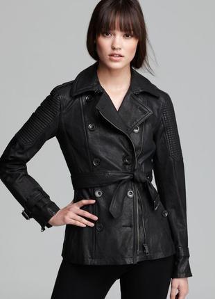 Итальянская куртка из эко кожи с подкладкой и поясом paquito