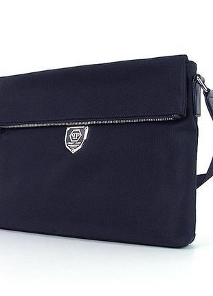 Синяя мужская текстильная сумка через плечо папка под формат а4