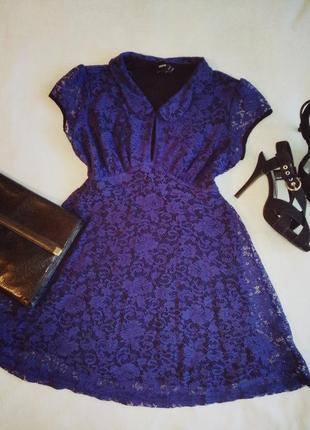 Платье с воротником кружевное мини