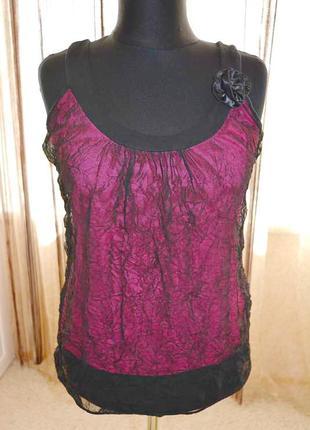 Моделирующая блузка, майка, мятость, органза , цветочек, двойка, жатка
