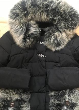 Пуховик, зимнее пальто, натуральный мех