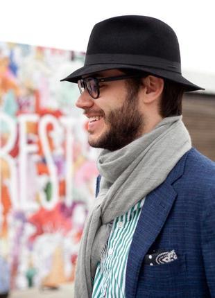 Стильная мужская  шляпа  трилби, 100% шерсть
