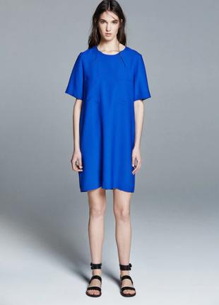 Синее платье свободного кроя от mango