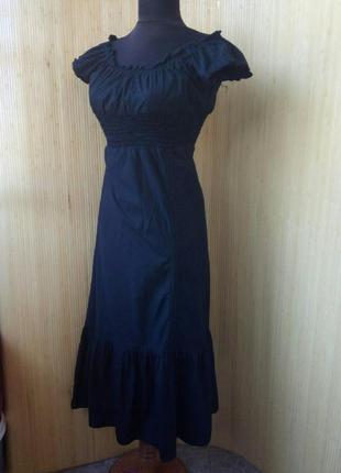 Французское чёрное платье миди тонкий хлопок под грудь с баской по подолу mim