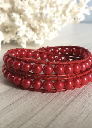 Красный кожаный браслет в стиле chan luu ручная работа
