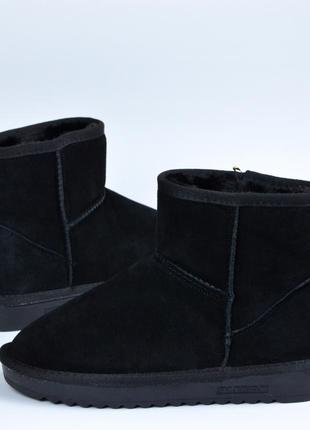 Черные угги мини замшевые с мехом в стиле ugg mini (35\36\37\38\39\40)