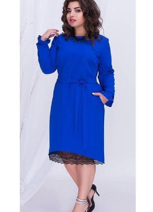 Новое очаровательное женское платье 54 размера цвета электрик