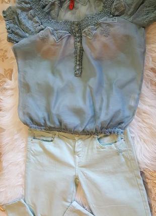 """Оригинальная новая  блуза"""" qs by oliver"""" приятного пыльного голубого цвета"""