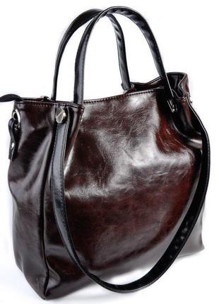 Коричневая сумка шоппер с черными комбинированными ручками