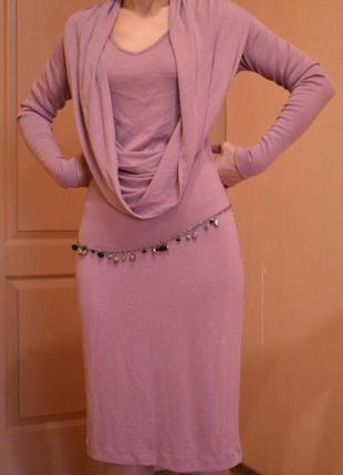 Платье трикотажное цвета пепельная роза, размер 44