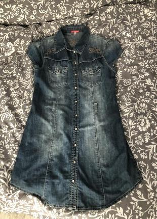 Джинсовое платье, туника 40 размер