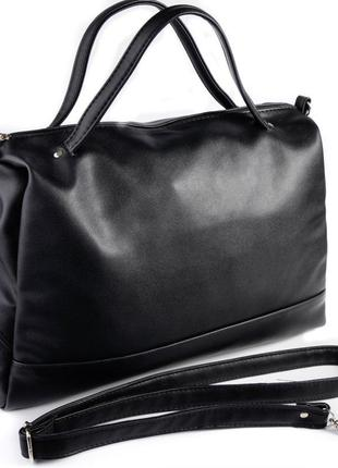 Черная большая сумка шоппер на молнии с ремешком через плечо