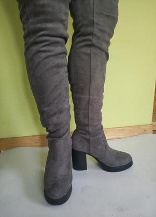 Сапоги-чулки на толстом каблуке new look