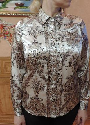 Шикарная атласная блуза в узор с красивыми пуговицами marks & spencer,18 l - xxxl