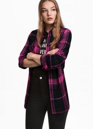 Оригинальная фланелевая рубашка от бренда h&m разм. 32