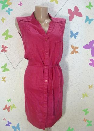 100% лен платье с пояском размер 14-16