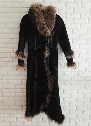 Зимнее пальто из енота и овчины . размер м