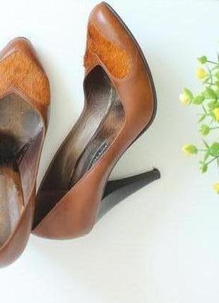 ❤️кожаные туфли лодочки с вставкой из шерсти пони, натуральная кожа❤️
