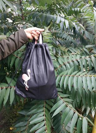 Кожаный рюкзак с фламинго