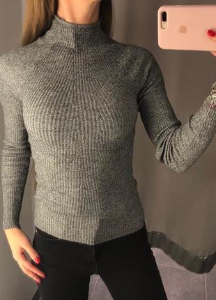 Базовый серый гольф с рубчик amisu свитер водолазка лапша xs-xl