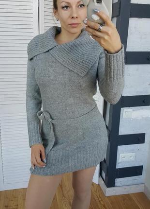 Теплый свитер туника с поясом. или без