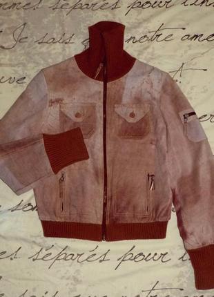 Фирменная утепленная куртка из натуральной замши. супер качество!