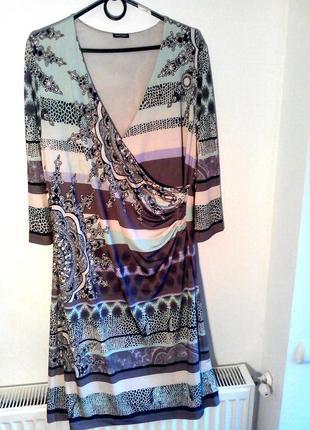 Платье принт большой размер xxl-16