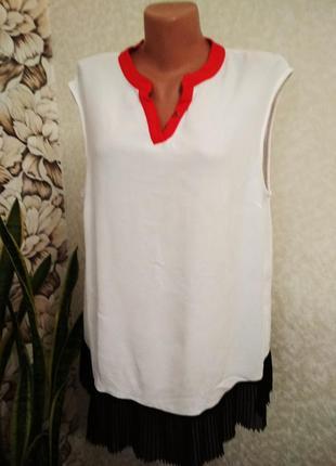 Комбинированная блуза, топ, вискоза. 1+1= 50% скидки на 3ю вещь.