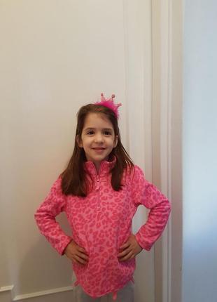 Кофта детская флисовая для девочек  2года, розовый леопард на молнии из сша