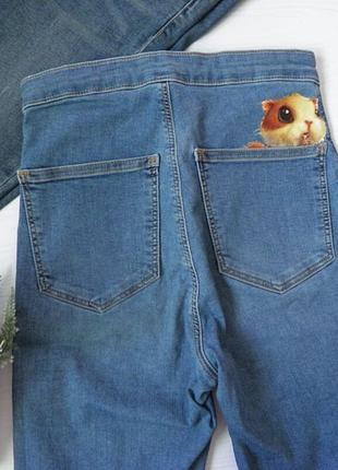 Джинсы скини от topshop скини с хомяком милые милашные джинсы нашивка стикер