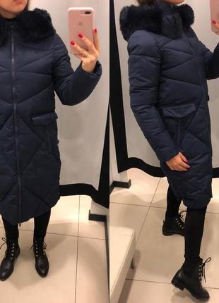 Темно синее зимнее пальто с мехом mohito тёплая куртка на синтепоне зима xxs-xl