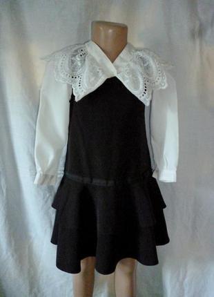 Школьный сарафан и блузка комплект на 6-7 лет