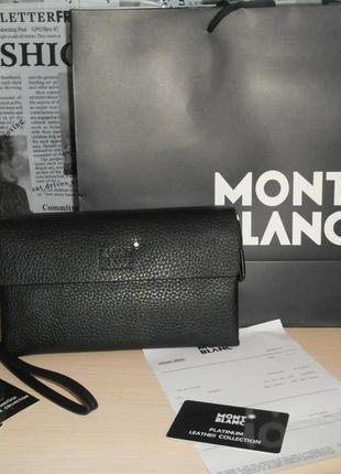 Клатч-сумка мужская барсетка mont blanc, кожа, италия 2266