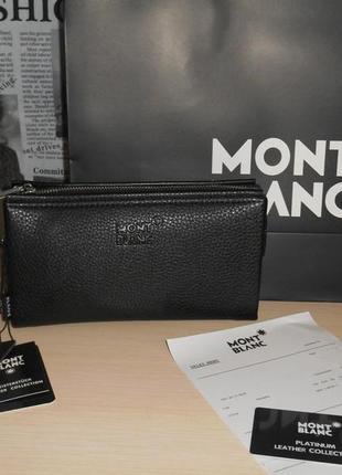 Клатч-сумка мужская барсетка mont blanc, кожа, италия 9015