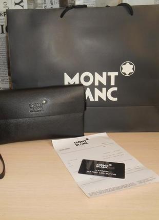 Клатч-сумка мужская барсетка mont blanc, кожа, италия 9009