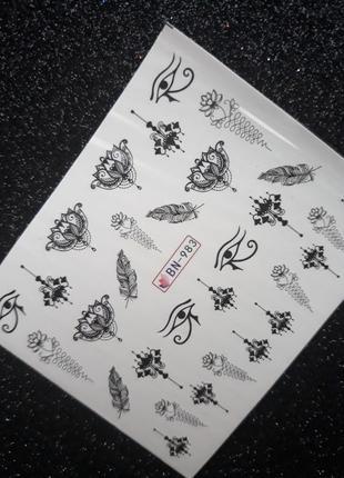 Слайдеры для дизайна ногтей водные наклейки на гель лак стикеры