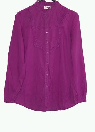Очень красивая коттоновая блуза рубашка с воротником-стойкой