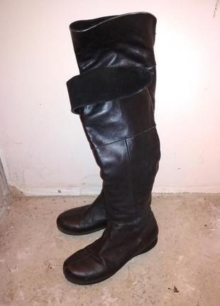 Кожаные теплые сапоги ботфорты 36 размер на худую ногу 23 см