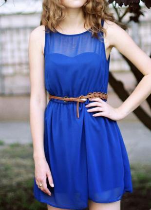 Легкое полупрозрачное платье цвета электрик, colin's, 36 размер
