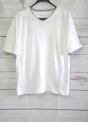 Красивая белоснежная футболка в рубчик xxl