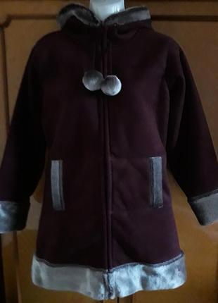 Шикарная дубленка с капюшоном и мехом внутри на 11-12 лет бренда next