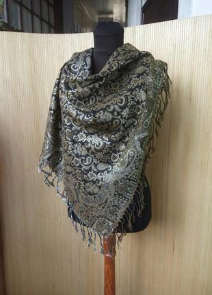 Платок / шарф тонкая шерсть чёрный с золотом