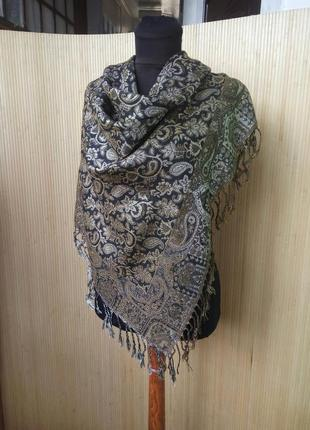 Платок / шарф тонкая шерсть чёрный с золотом2