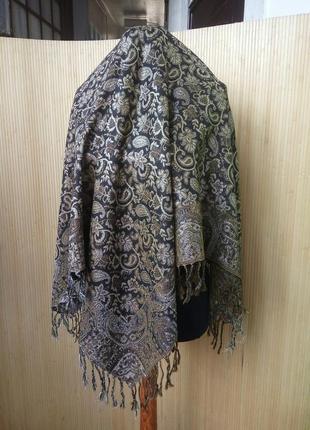 Платок / шарф тонкая шерсть чёрный с золотом3