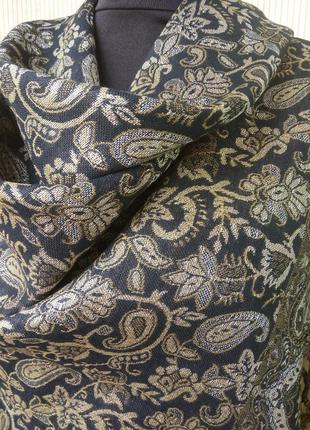 Платок / шарф тонкая шерсть чёрный с золотом4